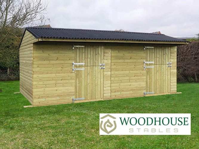 Double Mobile Stables - 10x20 with Woodhouse Stables Logo