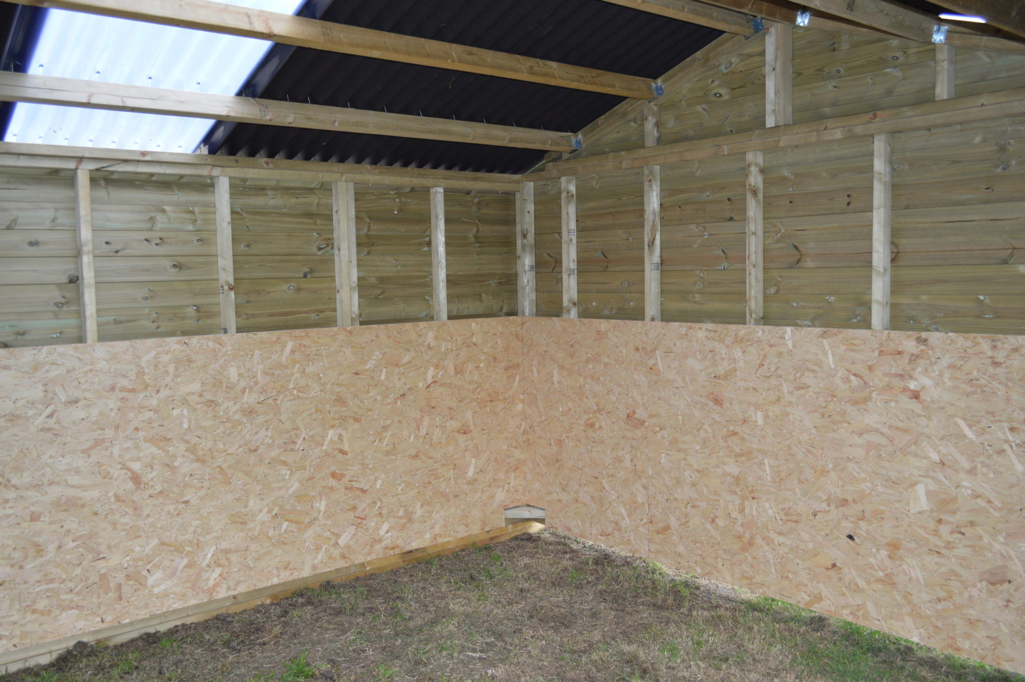 Internal view of Mobile Shelter with OSB kickboarding
